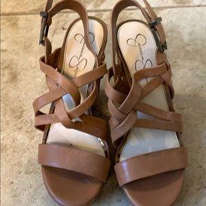Jessica Simpson high heeled platform shoes